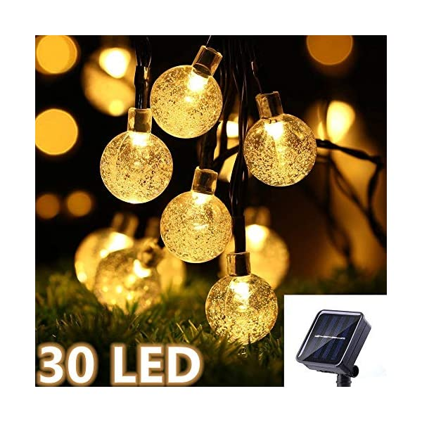 Ibello Catena luminosa Solare Stringa di Luci 6 Metri 30 Palline LED Impermeabile Energia Solare Bulbo Luminoso Luce Bianca Calda 8 Modalità Decorativa da Festa Giardino Gazebo (Bianco Caldo) 1 spesavip