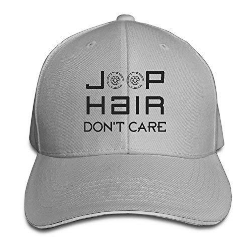 (Adjustable Baseball Caps Jeep Hair Don't Care Unisex Dad Hats Sandwich Caps Ash)
