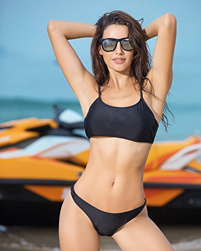 Funnygirl Womens Sexy Solid Bikini Set Swimwear Brazilian Padded Top High Cut Triangle Bottom 2 Pieces Swimsuit Black Small by Funnygirl (Image #1)