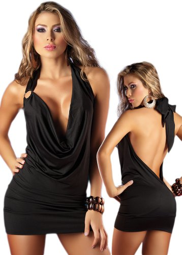 Deep Plunging Dress - Black Open Back Halter Style