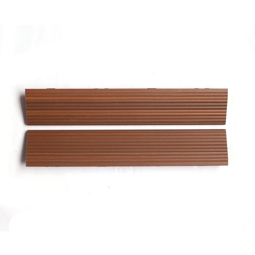 NewTechWood QD-SF-IP QuickDeck Composite Deck Tile Side Trim, 2-Inch x 1-Feet, Brazilian Ipe, 4-Piece