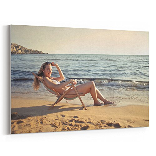 Westlake Art Chair Beach - 32x48 Canvas Print Wall Art - Canvas Stretched Gallery Wrap Modern Picture Photography Artwork - Ready to Hang 32x48 Inch
