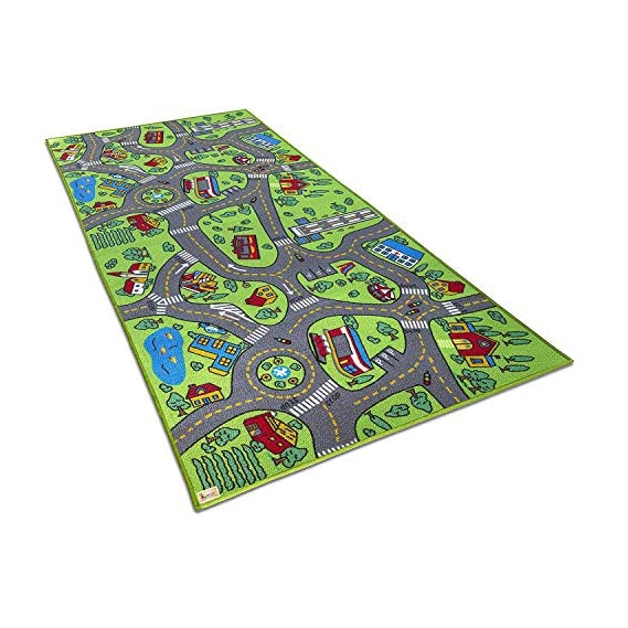 Kurtzy Kids Rug Play Crawl Floor mat Children's Educational, Map, Road Traffic System, Multi Colour Baby/Toddler