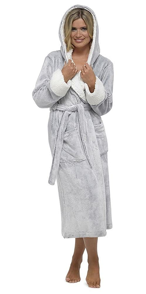 Daisy Dreamer Ladies Shimmer Fleece Robe, Luxury Hooded Dressing Gown, Size 8-18, DD526
