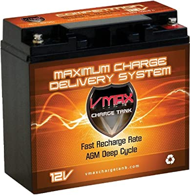 VMAX600 AGM Group 1/2 U1 Deep Cycle Battery Replacement for Amstar AMS2000LED Jump Starter 400 Amp 900 Peak Amp 12V 20Ah Battery