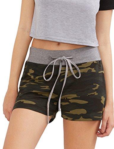 SweatyRocks Camouflage Workout Yoga Shorts Pants Hot Shorts for women Olive Green S