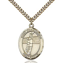 Gold Filled St. Christophervolleyball Pendant 1 X 34 Inches With Heavy Curb Chain