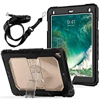 Stomern iPad 9.7 2018/2017,iPad Air 2 Case, Heavy Duty Rugged Hybrid Armor Stand Clear Cover with Strap, Full-Body Kickstand Protective Cases for iPad 9.7 inch 2017/2018 (Clear Black)
