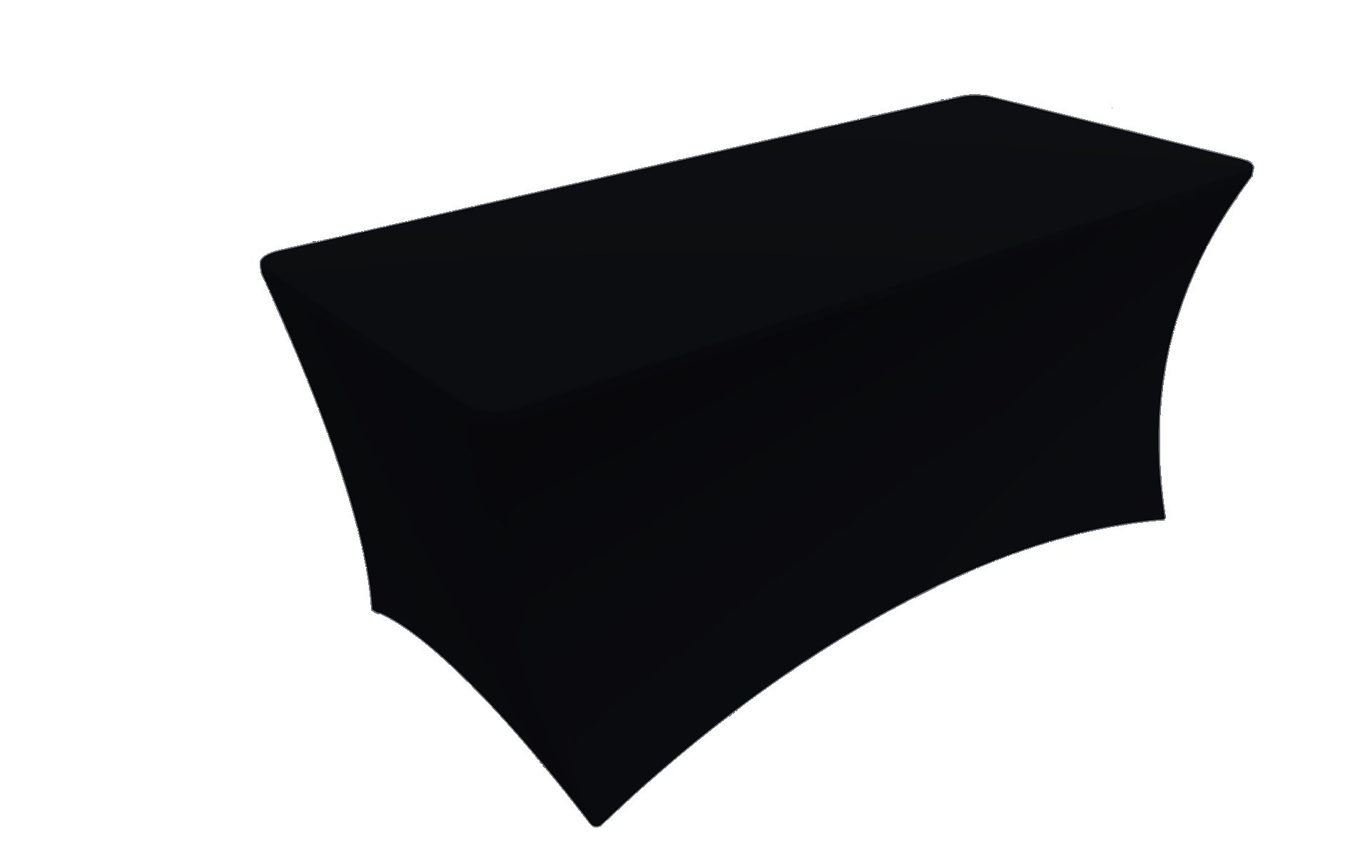 SY66 table cloths Tablecloth Cover, 6 ft white,Table Cloth Skirts, Rectangular, Polyester/Spandex, Elastic, Stretchable Linen, Stain & Wrinkle Proof, for Folding Tables, Wedding, DJ, Events (black)