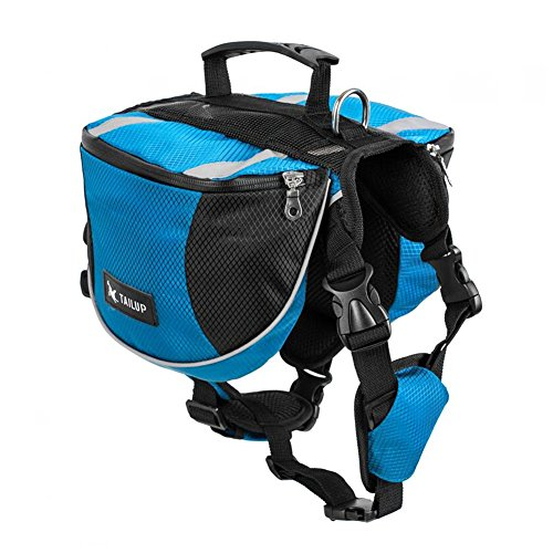 Kuoser Dog Saddle Bag Backpack, Pet Adjustable Harness Carrier Large Capacity Tripper Hound Bag for Traveling Hiking Camping for Medium & Large Dog Blue L