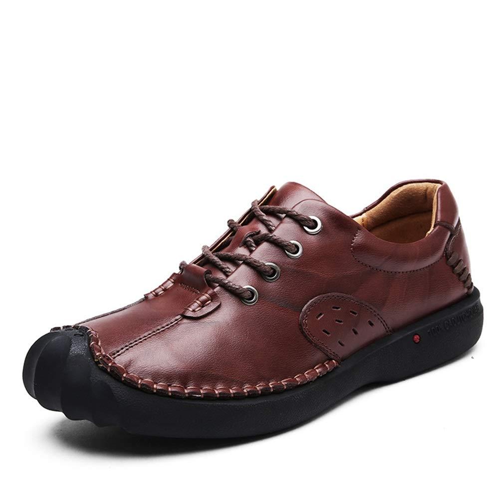 ZHRUI   beiläufige Herren Lace up Loafers beiläufige  Nicht Beleg Breathable Durable Echtleder Schuhe (Farbe : Khaki, Größe : EU 42) Braun 5d82d6