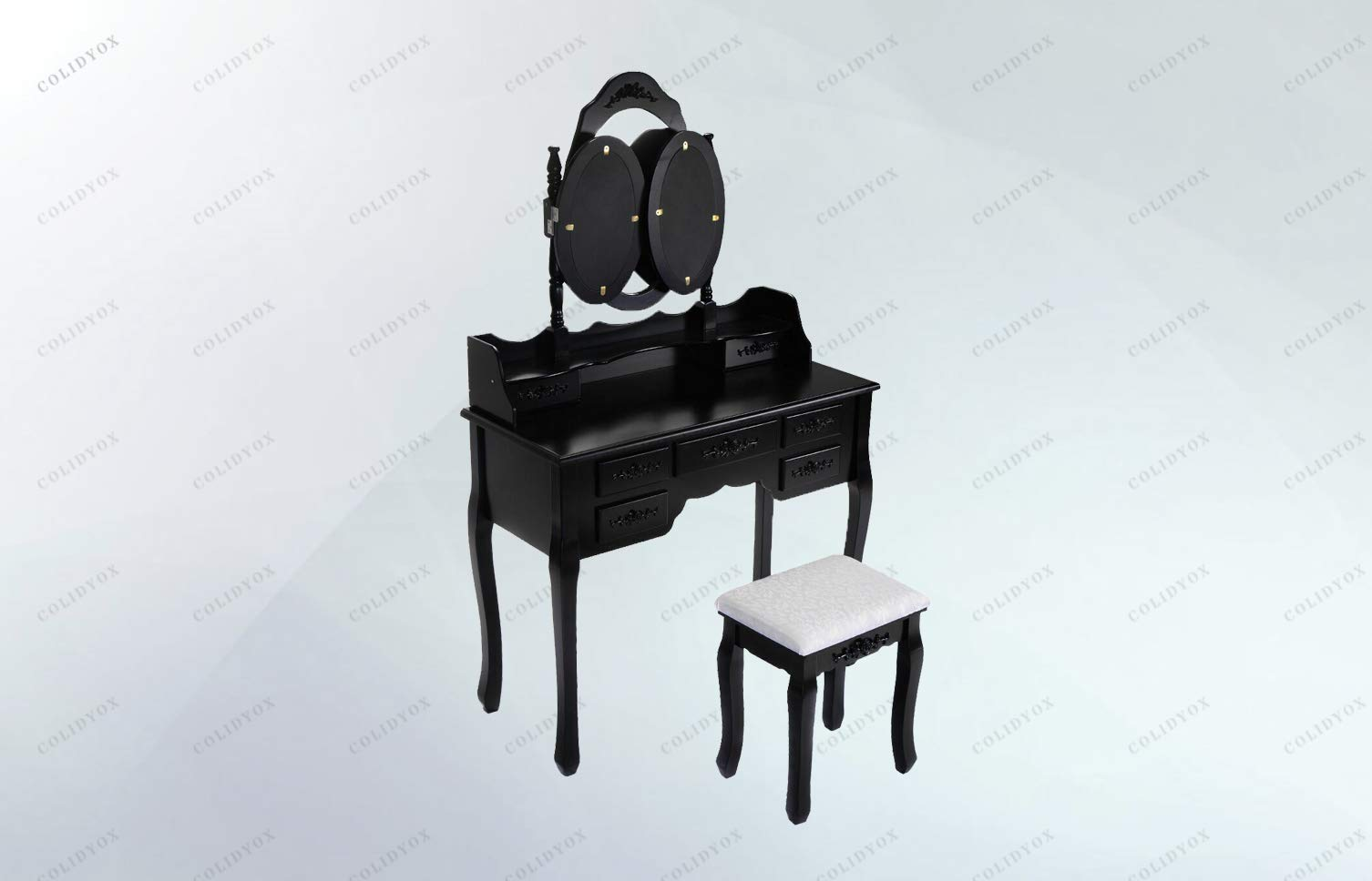 COLIDYOX>>>Black Tri Folding Oval Mirror Wood Vanity Makeup Table Our Black Vanity Makeup Table and Stool Set, which has a Beautiful and Traditional Style, is a Perfect Choice for Any Bedroom.