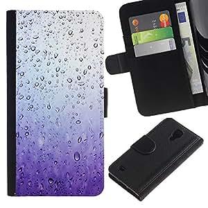 SAMSUNG Galaxy S4 IV / i9500 / SGH-i337 Modelo colorido cuero carpeta tirón caso cubierta piel Holster Funda protección - Rain Window Sad Purple