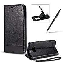 Strap Wallet Case for Samsung Galaxy S8,Bookstyle Full Body PU Leather Flip Cover for Samsung Galaxy S8,Herzzer Classic Magnetic Detachable Folio Card Slots Holder Stand Black Leather Case with Soft Inner
