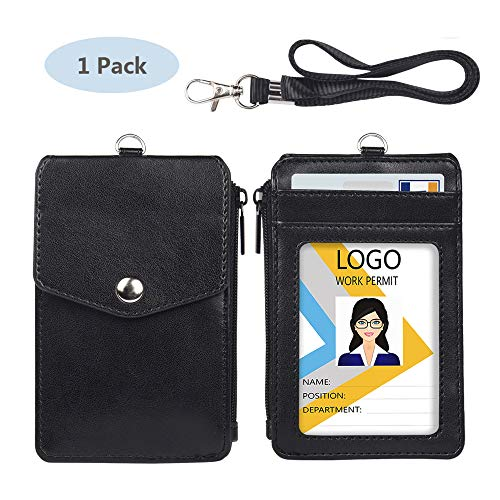 Leather Badge Holder with Lanyard,1 Clear ID Window and 3 Card Slots with Secure Snap Button Cover, 1 Zipper Wallet Pocket,1 Durable Nylon Lanyard for Offices ID,School ID, Credit Cards,Driver Licence