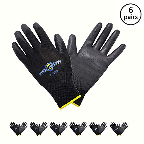 Golden Scute 6 Pairs Polyurethane Coated Work Gloves with Polyester Shell. Economy Safety Gloves for Landscaping, Material Handling, Farming, Gardening, Agriculture (Meduim/Size 8)