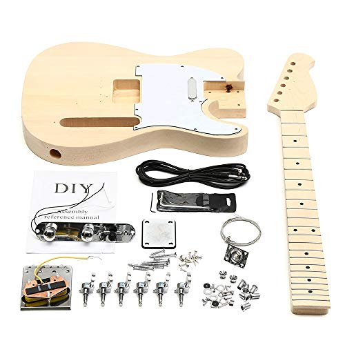 (K&A company Unfinished DIY Electric Guitar Mahogany Body Rosewood Fingerboard Kit Set Durable)