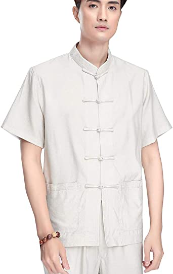 Hombres Camisa Manga Corta Chinos Tradicionales Camisa de Tai Chi Uniforme de Kung Fu: Amazon.es: Ropa y accesorios