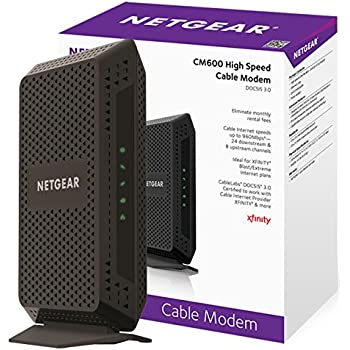 NETGEAR CM600 (24x8) DOCSIS 3.0 Cable Modem. Max download speeds of 960Mbps. Certified for XFINITY by Comcast, Time Warner Cable, Cox, Charter & more (CM600-1AZNAS)
