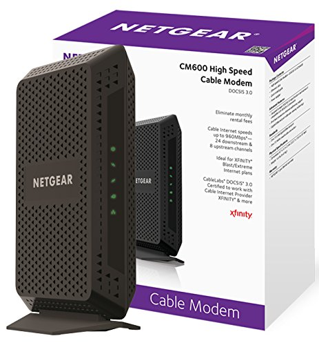 Review NETGEAR CM600 (24x8) DOCSIS 3.0 Cable Modem. Max download speeds of 960Mbps. Certified for XFINITY by Comcast, Time Warner Cable, Cox, Charter & more (CM600-1AZNAS)