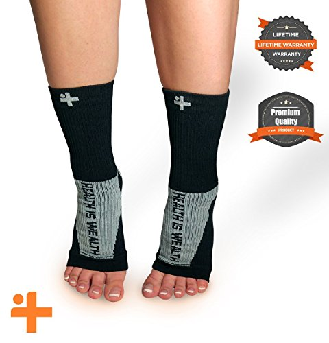 - Fast Relief from Plantar Fasciitis | Swelling | Foot Pain & Promotes Blood Circulation | Open Toed Compression Sleeve Sock Health Is Wealth (Black, Small)