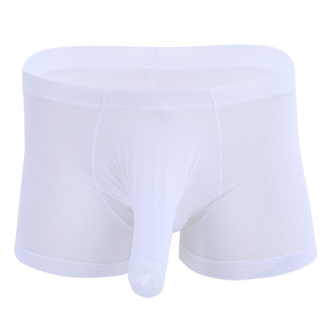 Agoky Men's Silky Boxer Shorts Trunks Underwear Lingerie Long Cock Sheath Bikini Briefs