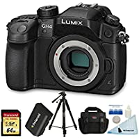 Panasonic LUMIX DMC-GH4KBODY 16.05 MP Digital Single Lens Mirrorless Camera w/ 4K Cinematic Video Recording Body + 64GB U3 Card + Polaroid Tripod+ Polaroid Spare Battery + Ritz Gear Bag + Accessories Key Pieces Review Image