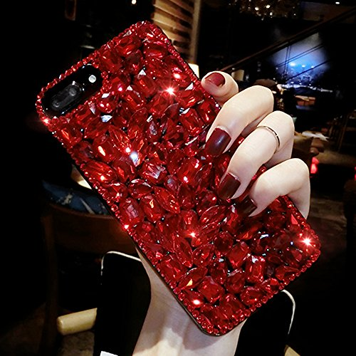 iPhone 8 Case, iPhone 7 Case, Aifeer Luxury Handmade Crystal Rhinestone Soft Rubber Bumper Bling Red Full Diamond Glitter Case Cover for iPhone 7/ iPhone 8 4.7