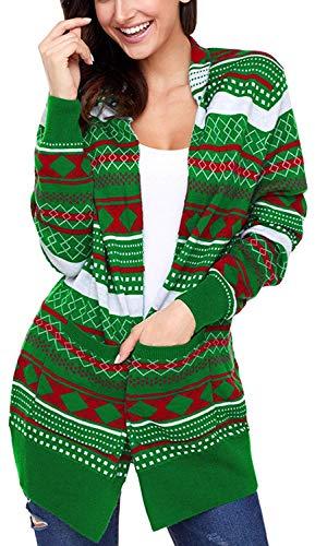 Autunno Di Stampate Tasche Pattern Moda Comodo Outerwear Maglieria Modern Elasticità Abbigliamento Manica A Pullover Stile Maglia Anteriori Elegante Grün Lunga Giacca Donna 8pqqwt