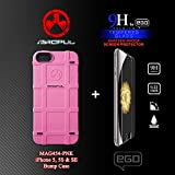 Magpul Bump Case for iPhone 5/5s and iPhone SE, Solid Pink (MAG454-PNK) with EGO 9H Shatter-Proof Tempered Glass Screen Protector Combo-Pack