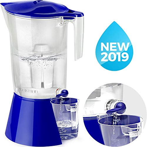 DRIKMAN Universal Water Filter Pitcher - Water Purifier Pitcher - Water Pitcher with Filter - Filtered Water Dispenser with Stand - 1 gallon pitcher - Filtered Water Pitchers - Standard filer BPA Free