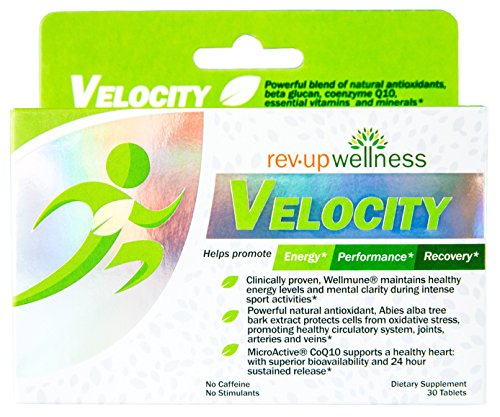 Rev Up Wellness ® VELOCITY, Natural Supplement Blend for Energy, Performance and Athletic Recovery, Super Combination Antioxidants Promotes Heart and Muscle Health