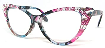 0b217a464d8e Image Unavailable. Image not available for. Color  Burmese Swarovski Cat  Eye Reading Glasses ...