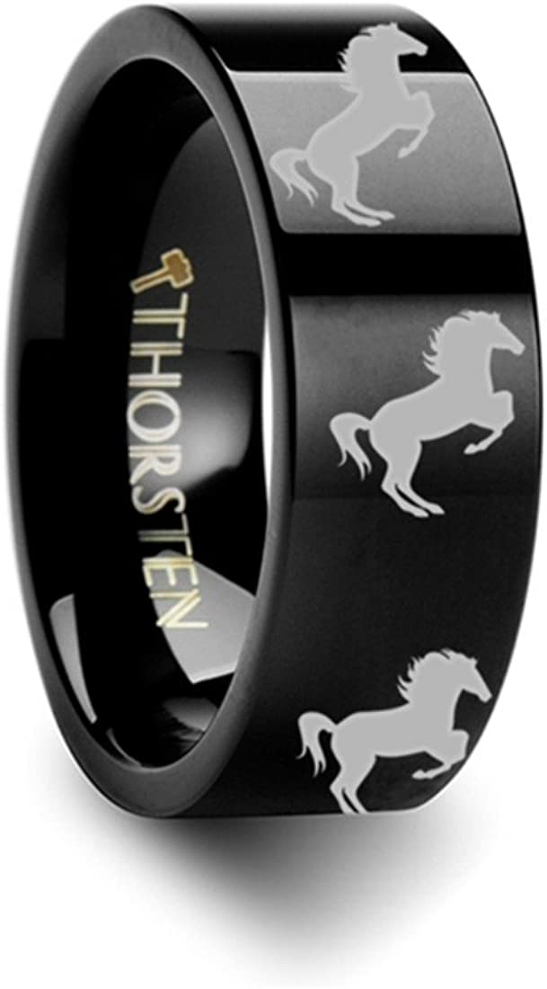 Thorsten Animal Jumping Horse on Hind Legs Equestrian Print Pattern Ring Black Tungsten Ring 4mm Wide Wedding Band from Roy Rose Jewelry