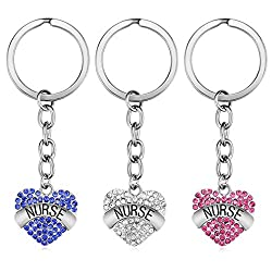 Crystal Heart Pendant Nurse Keychain