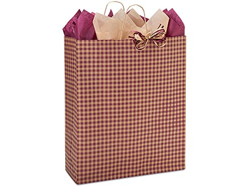 Pack Of 200, Queen 16 x 6 x 19'' Burgundy Gingham Kraft Paper Shopping Bags Made In USA for Christmas & year-round packaging by Generic