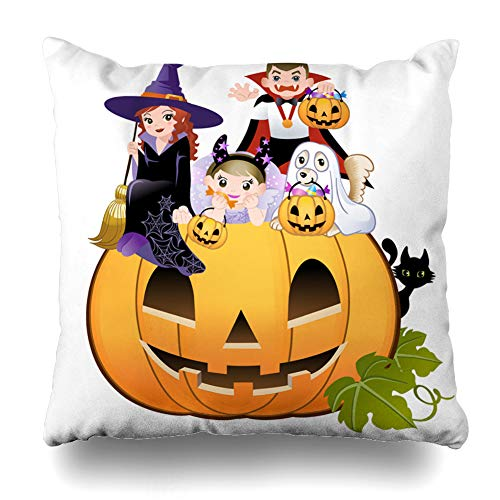KJONG Halloween Children Wearing Costume on Huge Jack O Zippered Pillow Cover, 18 x 18 Inch Square Decorative Throw Pillow Case Fashion Style Cushion Covers 2 Sides Print ()