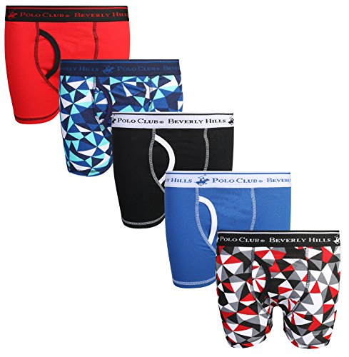 - Beverly Hills Polo Club Boys\' Solid Boxer Briefs (Pack of 5), Geometric, Toddler (2T/3T)'