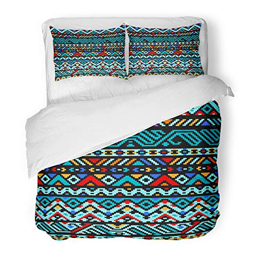 Emvency Decor Duvet Cover Set Twin Size Blue American Colorful Ethnic Geometric Aztec Use Orange Indian Mexican Native Black 3 Piece Brushed Microfiber Fabric Print Bedding Set Cover by Emvency