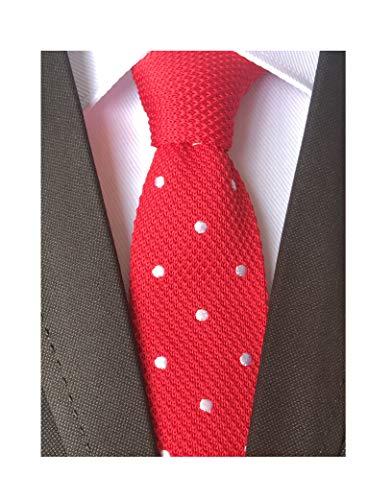 Men Hot Red Textured Knitted Woven Silk Tie Smart Necktie Birthday Gift for Guys