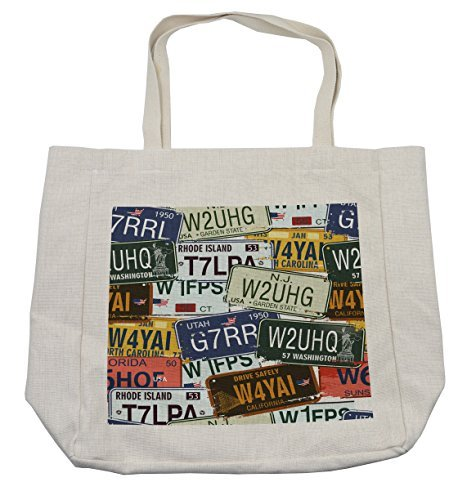 zaeshe3536658 Vintage Shopping Bag, Original Retro License Plates Personalized Creative Travel Collections Art, Eco-Friendly Reusable Bag for Groceries Beach Travel School & More,