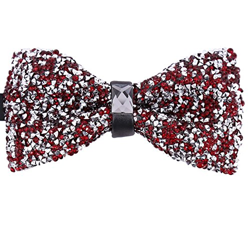 Men Novelty Dark Red Silver Pre-Tied Bow Ties Tux Formal Neck Bowtie for Parties
