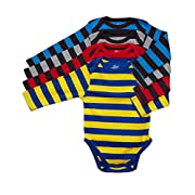 Leveret 4 Pack Long Sleeve Bodysuit 100% Cotton Stripes Boy 6-12 Months Multi 3
