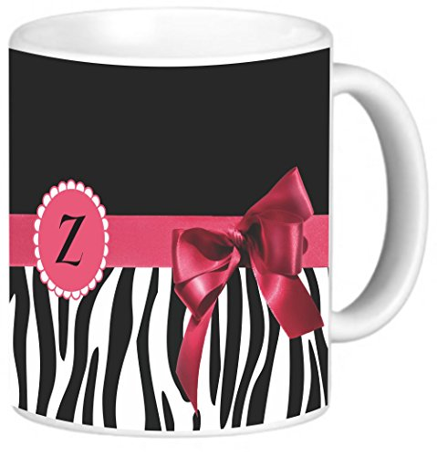 Rikki Knight Tropical Pink Zebra Bow Monogram Design Photo Quality Ceramic Coffee Mug, 11-Ounce, Letter (Pink Zebra Photo)