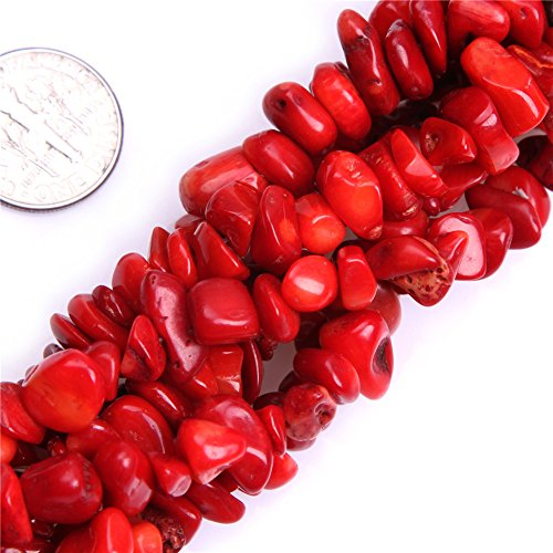 (Red Coral Chips Beads for Jewelry Making Gemstone Semi Precious 7-8mm 34