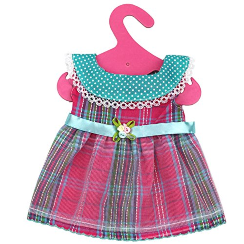 MagiDeal Fashion Sleeveless Plaid Checked Dress Outfit for 18 Inch American Girl Doll