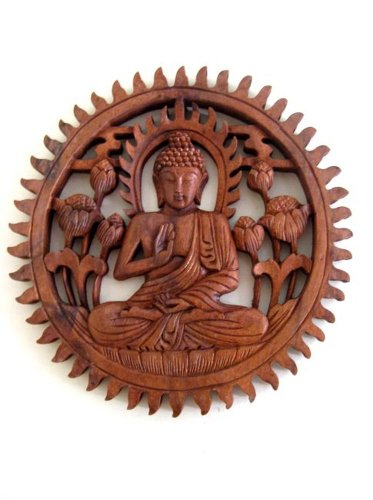 (Buddha Wall Hanging Wall Decor Carved Buddha Statue Blessing Lucky Buddha - Collector's Item- OMA)