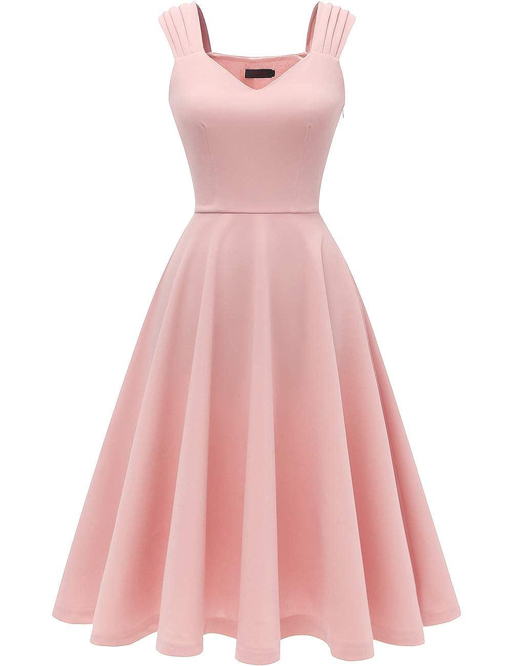 Dresstells Damen 1950er Rockabilly Kleid Vintage V-Ausschnitt Cocktailkleid Faltenrock