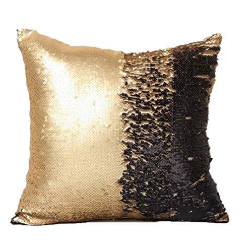 Double Color Glitter Sequins Throw Pillow Case 40cm40cm WensLTD (D)