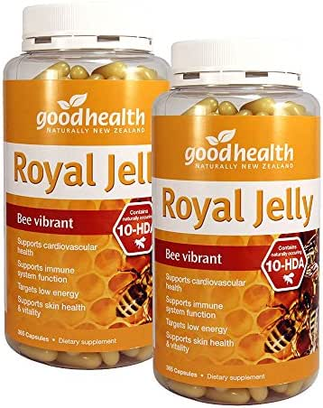 GoodHealth Royal Jelly 10-HDA 365 Capsules Targets low energy Supports skin health & vitality Supports cardiovascular health & immune system function (Pack of 2)